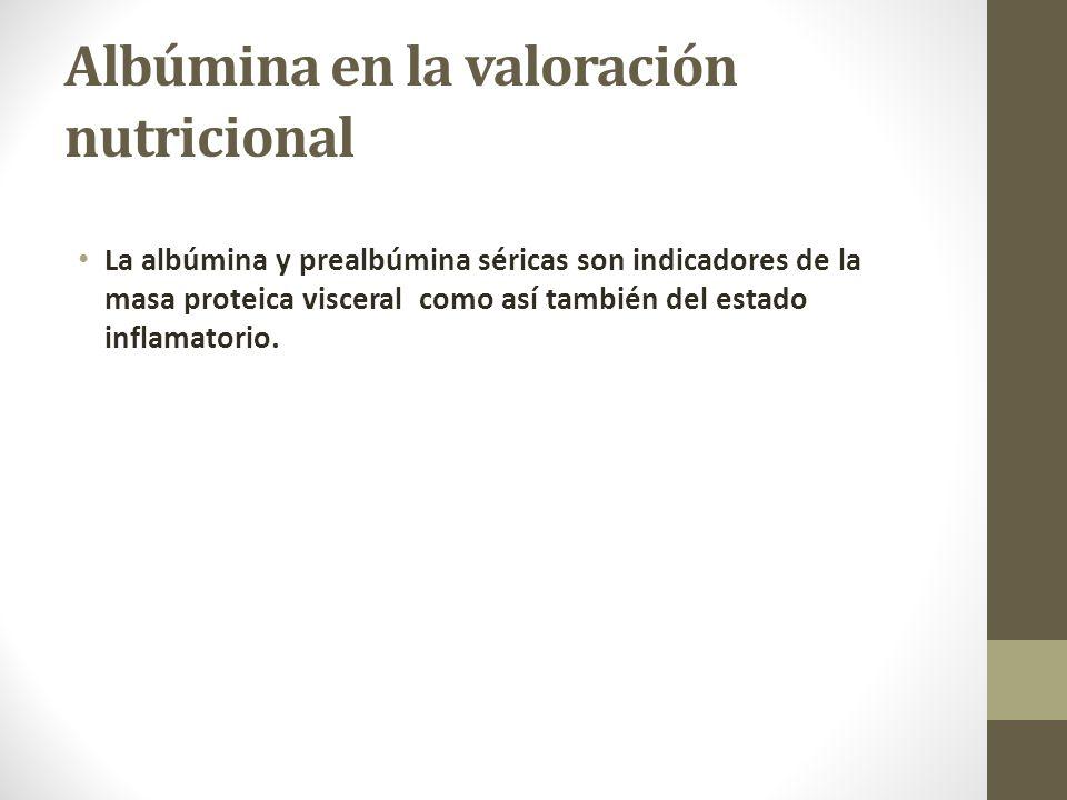 Albúmina en la valoración nutricional La albúmina y prealbúmina séricas son indicadores de la masa proteica visceral como así también del estado inflamatorio.