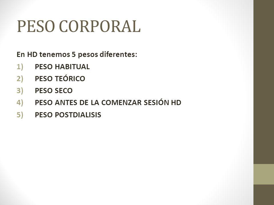 PESO CORPORAL En HD tenemos 5 pesos diferentes: 1)PESO HABITUAL 2)PESO TEÓRICO 3)PESO SECO 4)PESO ANTES DE LA COMENZAR SESIÓN HD 5)PESO POSTDIALISIS
