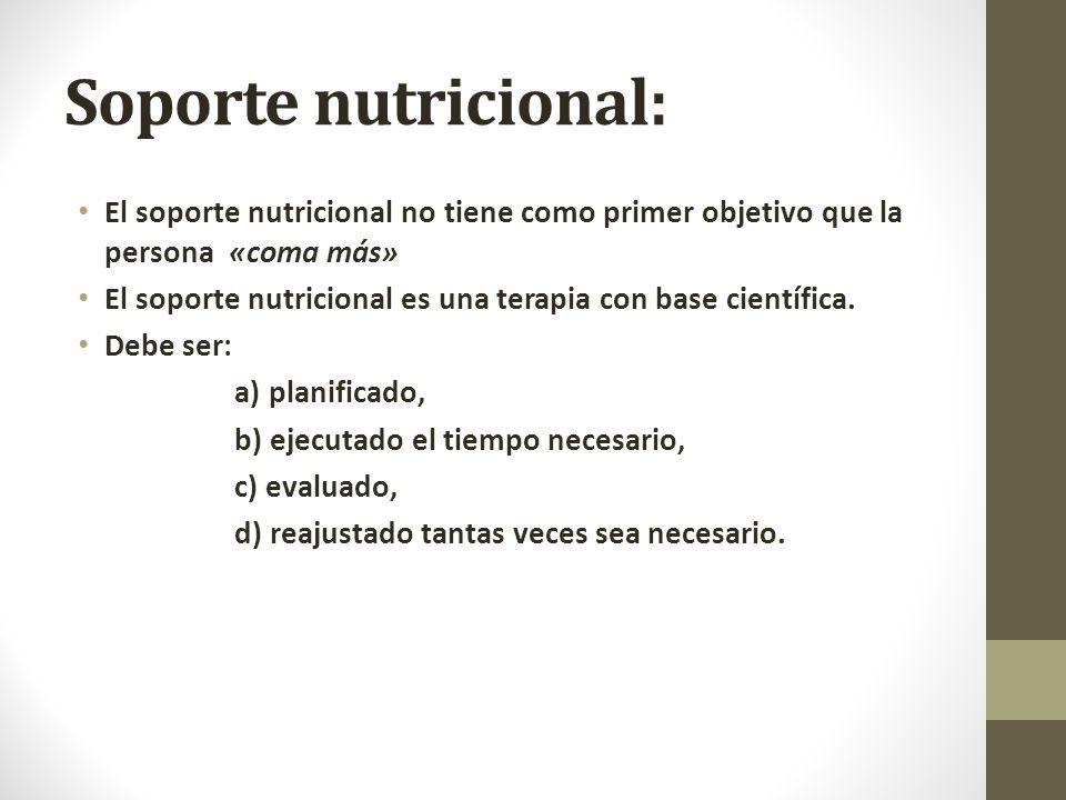 Soporte nutricional: El soporte nutricional no tiene como primer objetivo que la persona «coma más» El soporte nutricional es una terapia con base científica.