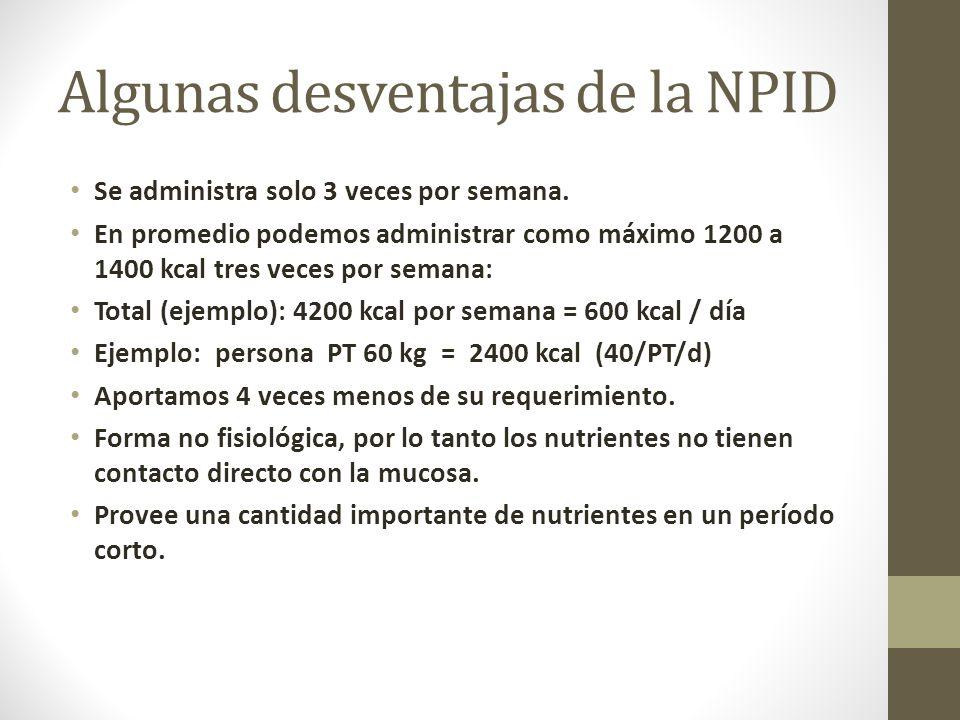 Algunas desventajas de la NPID Se administra solo 3 veces por semana.