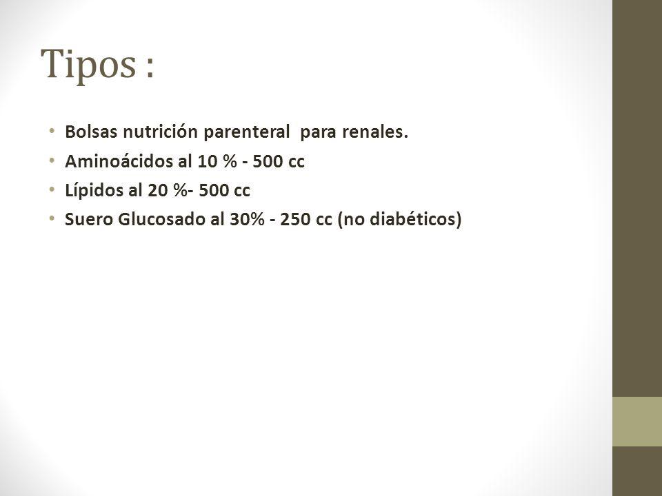 Tipos : Bolsas nutrición parenteral para renales.