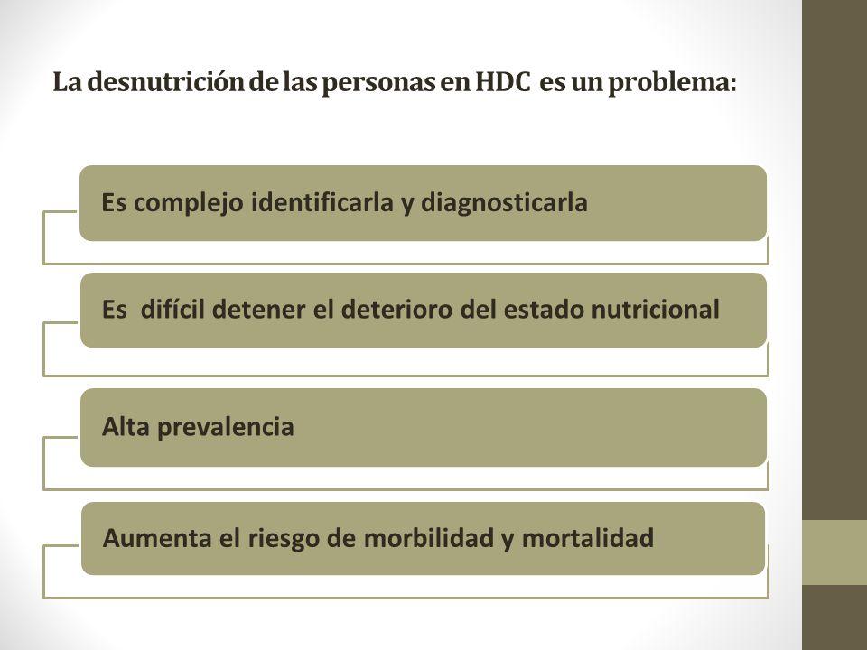 La desnutrición de las personas en HDC es un problema: Es complejo identificarla y diagnosticarla Es difícil detener el deterioro del estado nutricional Alta prevalencia Aumenta el riesgo de morbilidad y mortalidad