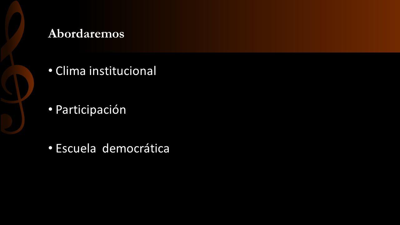 Abordaremos Clima institucional Participación Escuela democrática