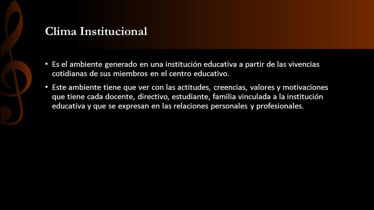 Clima Institucional Es el ambiente generado en una institución educativa a partir de las vivencias cotidianas de sus miembros en el centro educativo.