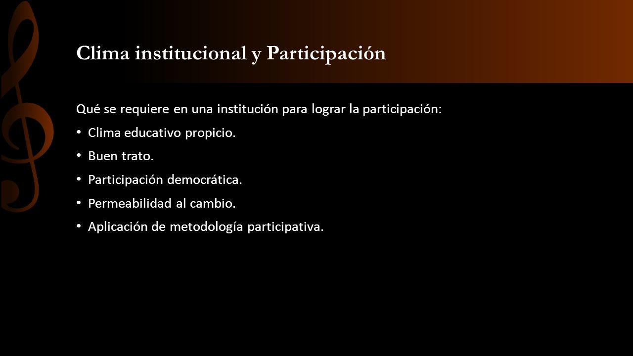 Clima institucional y Participación Qué se requiere en una institución para lograr la participación: Clima educativo propicio. Buen trato. Participaci