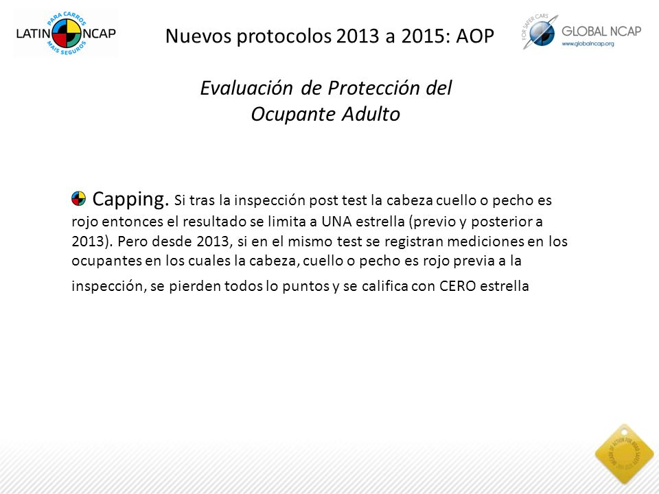 Evaluación de Protección del Ocupante Adulto Capping.