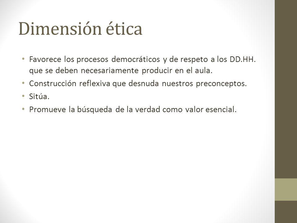 Dimensión ética Favorece los procesos democráticos y de respeto a los DD.HH.