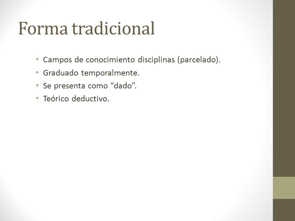 Forma tradicional Campos de conocimiento disciplinas (parcelado).