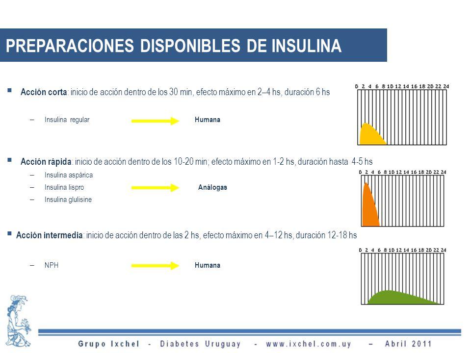 Acción corta : inicio de acción dentro de los 30 min, efecto máximo en 2–4 hs, duración 6 hs – Insulina regular Humana Acción rápida : inicio de acció