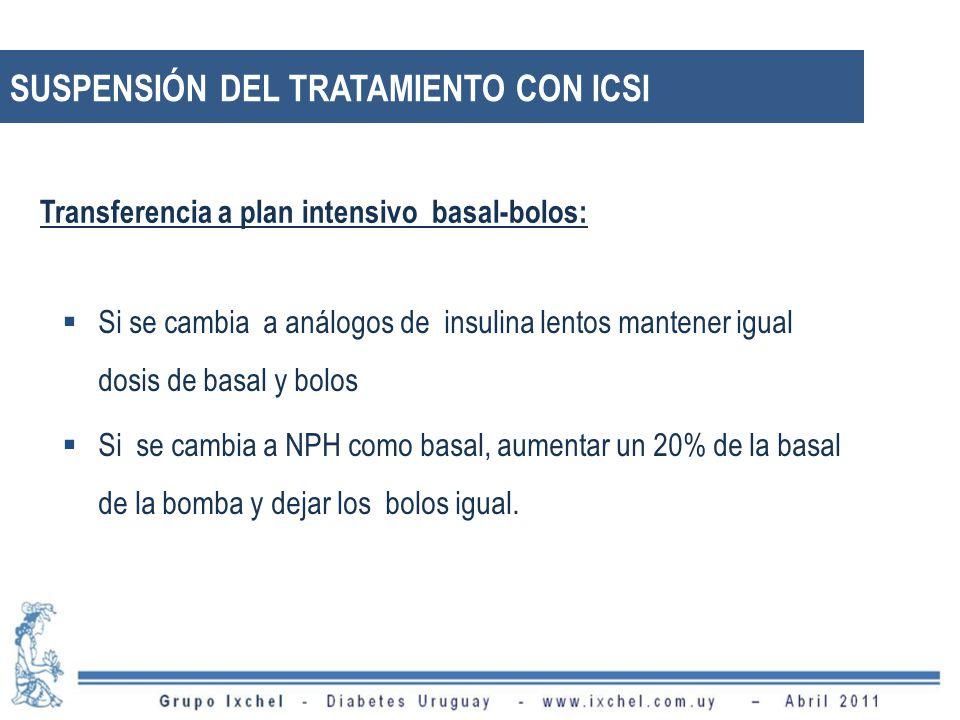 SUSPENSIÓN DEL TRATAMIENTO CON ICSI Si se cambia a análogos de insulina lentos mantener igual dosis de basal y bolos Si se cambia a NPH como basal, au