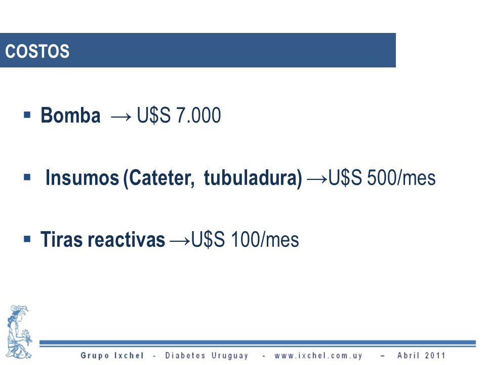 COSTOS Bomba U$S 7.000 Insumos (Cateter, tubuladura) U$S 500/mes Tiras reactivas U$S 100/mes