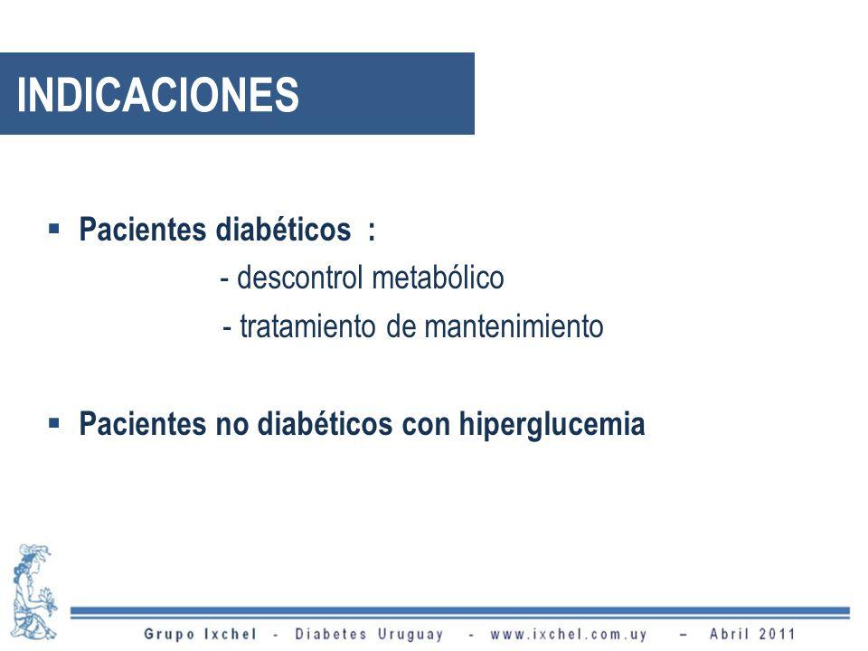 INDICACIONES Pacientes diabéticos : - descontrol metabólico - tratamiento de mantenimiento Pacientes no diabéticos con hiperglucemia