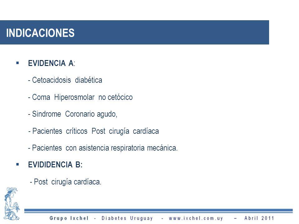 INDICACIONES EVIDENCIA A : - Cetoacidosis diabética - Coma Hiperosmolar no cetócico - Sindrome Coronario agudo, - Pacientes críticos Post cirugía card