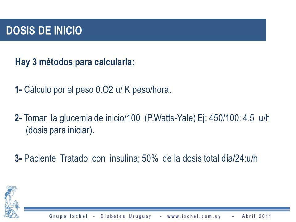1- Cálculo por el peso 0.O2 u/ K peso/hora. 2- Tomar la glucemia de inicio/100 (P.Watts-Yale) Ej: 450/100: 4.5 u/h (dosis para iniciar). 3- Paciente T