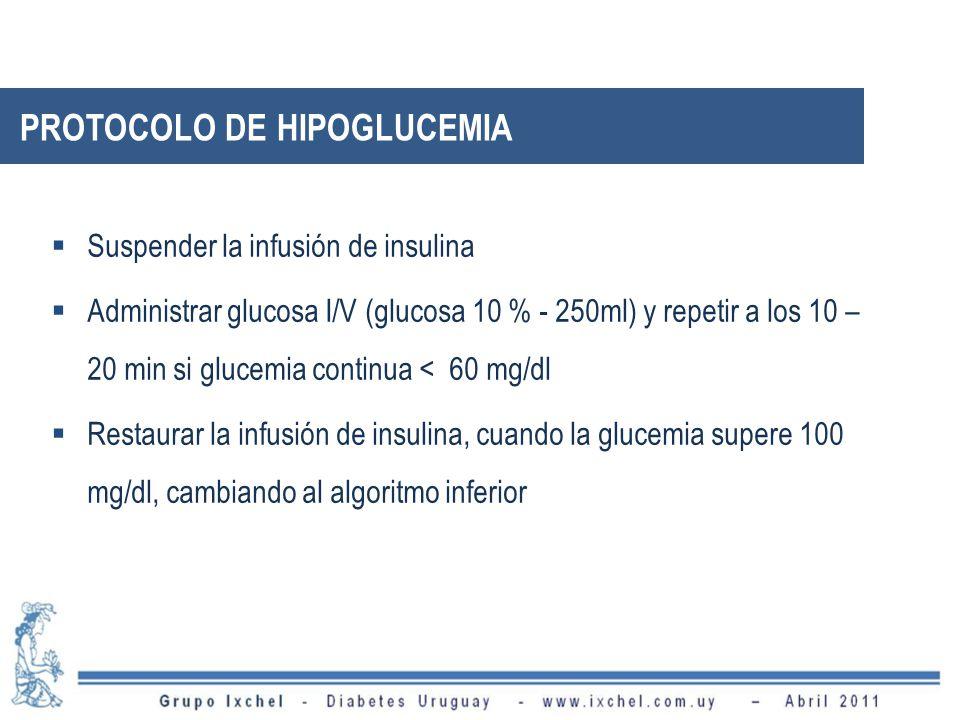 PROTOCOLO DE HIPOGLUCEMIA Suspender la infusión de insulina Administrar glucosa I/V (glucosa 10 % - 250ml) y repetir a los 10 – 20 min si glucemia con