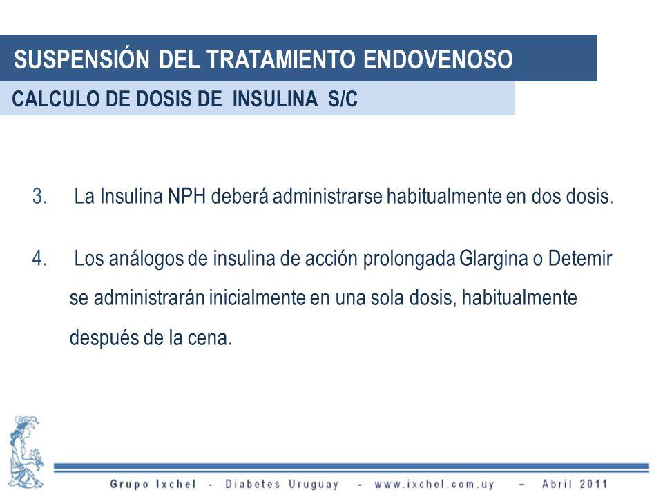 3. La Insulina NPH deberá administrarse habitualmente en dos dosis. 4. Los análogos de insulina de acción prolongada Glargina o Detemir se administrar