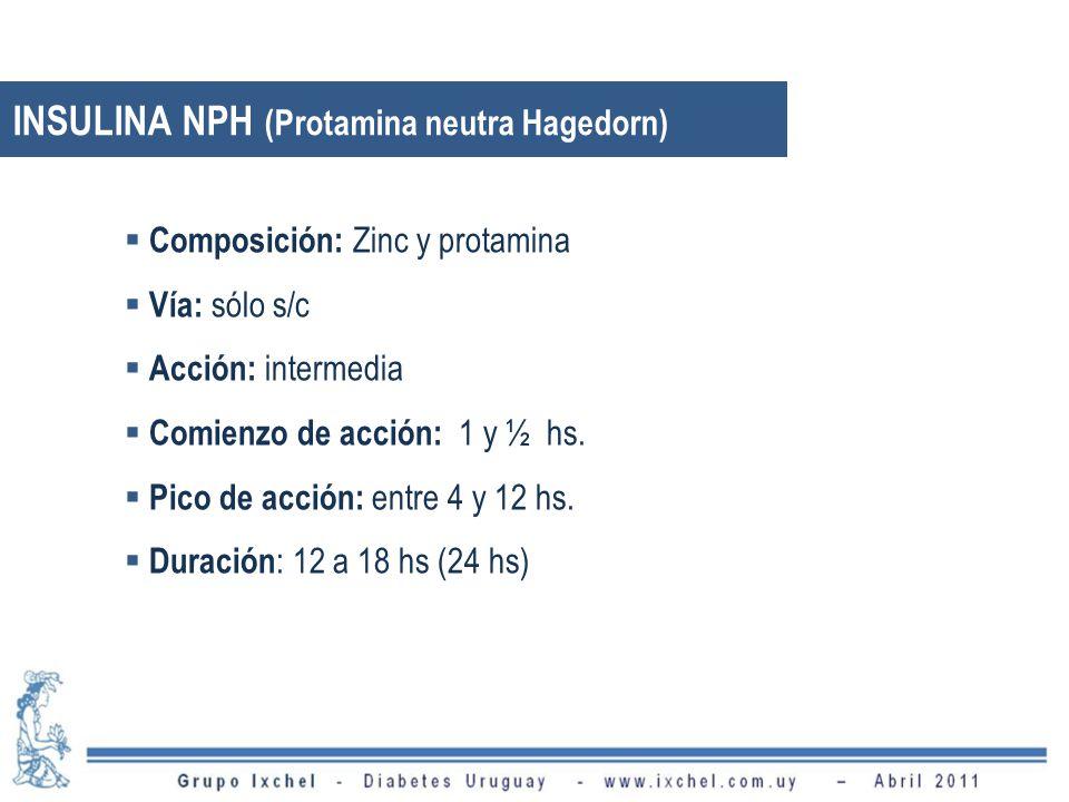 INSULINA NPH (Protamina neutra Hagedorn) Composición: Zinc y protamina Vía: sólo s/c Acción: intermedia Comienzo de acción: 1 y ½ hs. Pico de acción: