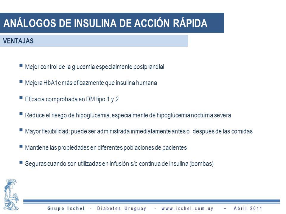 Mejor control de la glucemia especialmente postprandial Mejora HbA1c más eficazmente que insulina humana Eficacia comprobada en DM tipo 1 y 2 Reduce e