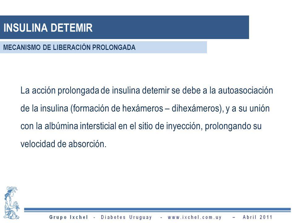 La acción prolongada de insulina detemir se debe a la autoasociación de la insulina (formación de hexámeros – dihexámeros), y a su unión con la albúmi