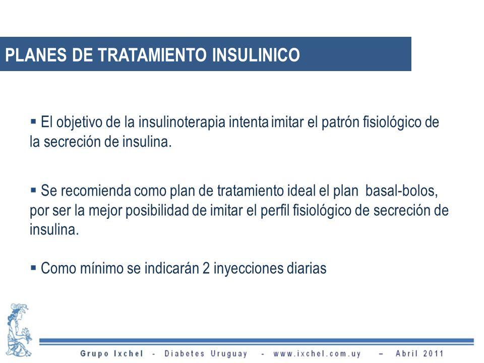 PLANES DE TRATAMIENTO INSULINICO Se recomienda como plan de tratamiento ideal el plan basal-bolos, por ser la mejor posibilidad de imitar el perfil fi