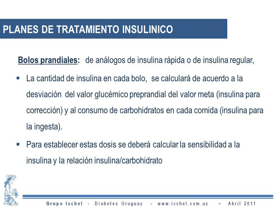 Bolos prandiales: de análogos de insulina rápida o de insulina regular, La cantidad de insulina en cada bolo, se calculará de acuerdo a la desviación