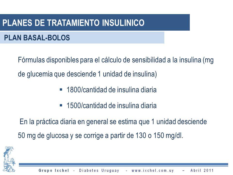 Fórmulas disponibles para el cálculo de sensibilidad a la insulina (mg de glucemia que desciende 1 unidad de insulina) 1800/cantidad de insulina diari