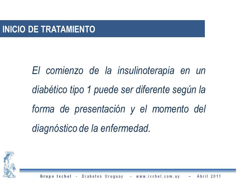 INICIO DE TRATAMIENTO El comienzo de la insulinoterapia en un diabético tipo 1 puede ser diferente según la forma de presentación y el momento del dia