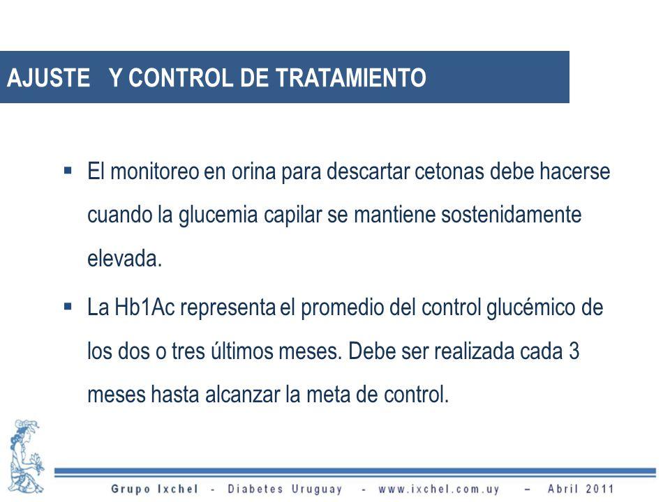 AJUSTE Y CONTROL DE TRATAMIENTO El monitoreo en orina para descartar cetonas debe hacerse cuando la glucemia capilar se mantiene sostenidamente elevad