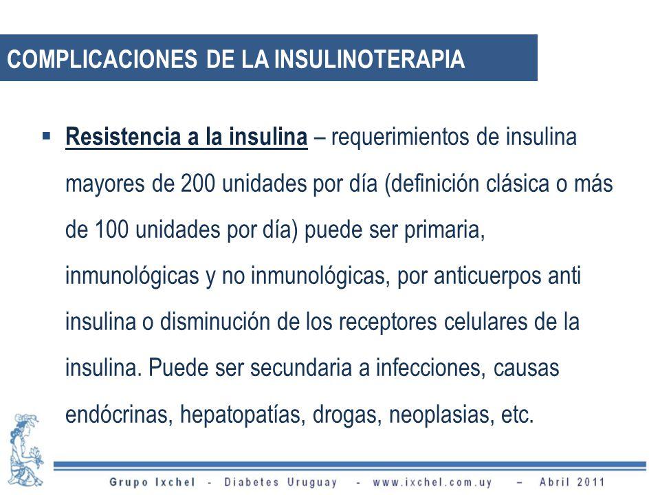 Resistencia a la insulina – requerimientos de insulina mayores de 200 unidades por día (definición clásica o más de 100 unidades por día) puede ser pr