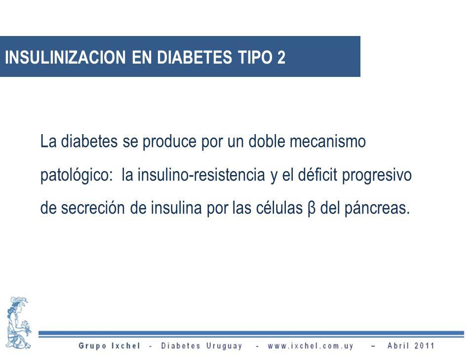 INSULINIZACION EN DIABETES TIPO 2 La diabetes se produce por un doble mecanismo patológico: la insulino-resistencia y el déficit progresivo de secreci