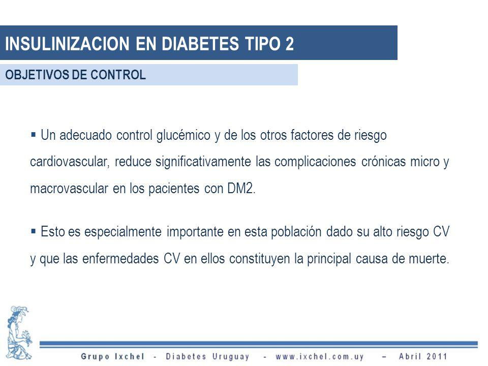 INSULINIZACION EN DIABETES TIPO 2 Un adecuado control glucémico y de los otros factores de riesgo cardiovascular, reduce significativamente las compli