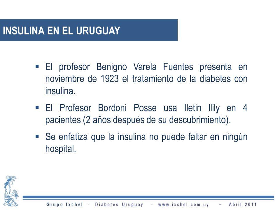 INSULINA EN EL URUGUAY El profesor Benigno Varela Fuentes presenta en noviembre de 1923 el tratamiento de la diabetes con insulina. El Profesor Bordon