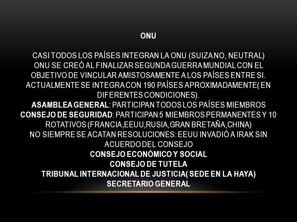 ONU CASI TODOS LOS PAÍSES INTEGRAN LA ONU (SUIZA NO, NEUTRAL) ONU SE CREÓ AL FINALIZAR SEGUNDA GUERRA MUNDIAL CON EL OBJETIVO DE VINCULAR AMISTOSAMENT
