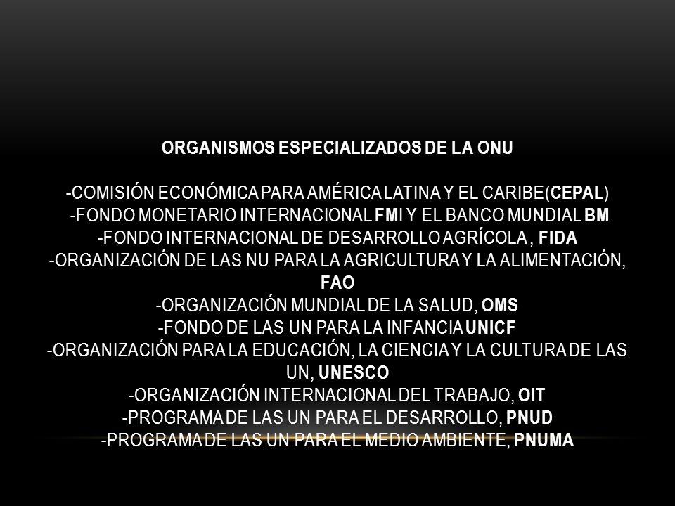 ORGANISMOS ESPECIALIZADOS DE LA ONU -COMISIÓN ECONÓMICA PARA AMÉRICA LATINA Y EL CARIBE( CEPAL ) -FONDO MONETARIO INTERNACIONAL FM I Y EL BANCO MUNDIA