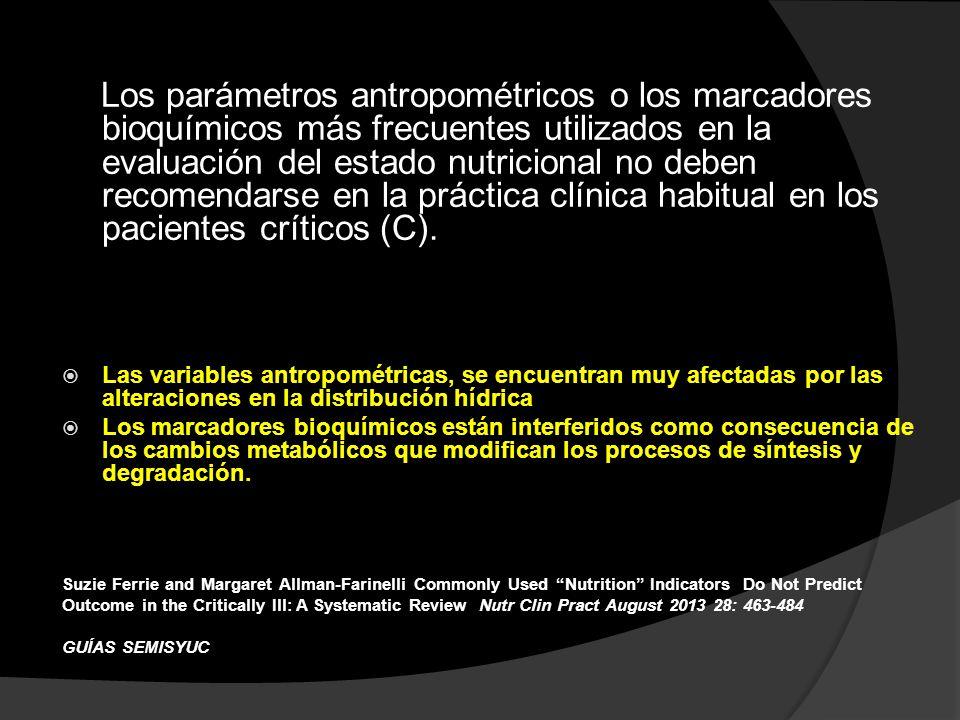 Los parámetros antropométricos o los marcadores bioquímicos más frecuentes utilizados en la evaluación del estado nutricional no deben recomendarse en