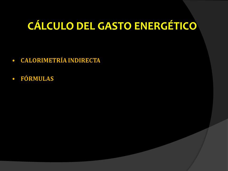 CÁLCULO DEL GASTO ENERGÉTICO CALORIMETRÍA INDIRECTACALORIMETRÍA INDIRECTA FÓRMULASFÓRMULAS