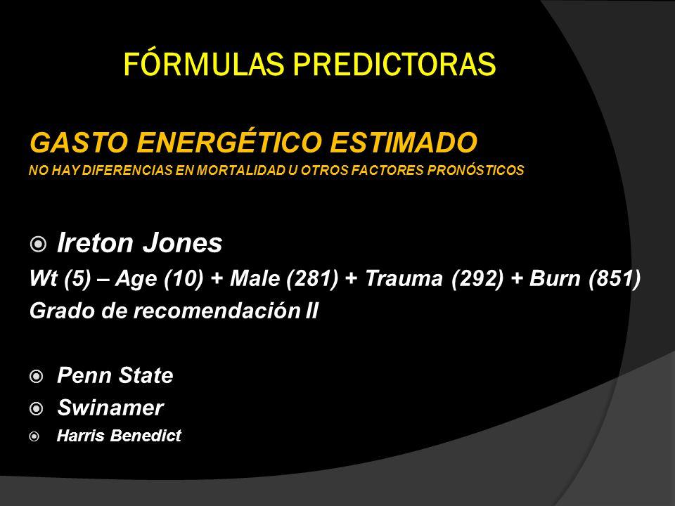 FÓRMULAS PREDICTORAS GASTO ENERGÉTICO ESTIMADO NO HAY DIFERENCIAS EN MORTALIDAD U OTROS FACTORES PRONÓSTICOS Ireton Jones Wt (5) – Age (10) + Male (28