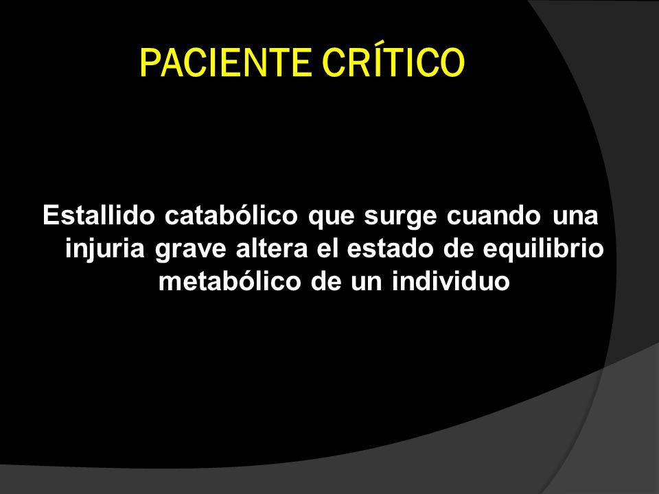 PACIENTE CRÍTICO Estallido catabólico que surge cuando una injuria grave altera el estado de equilibrio metabólico de un individuo