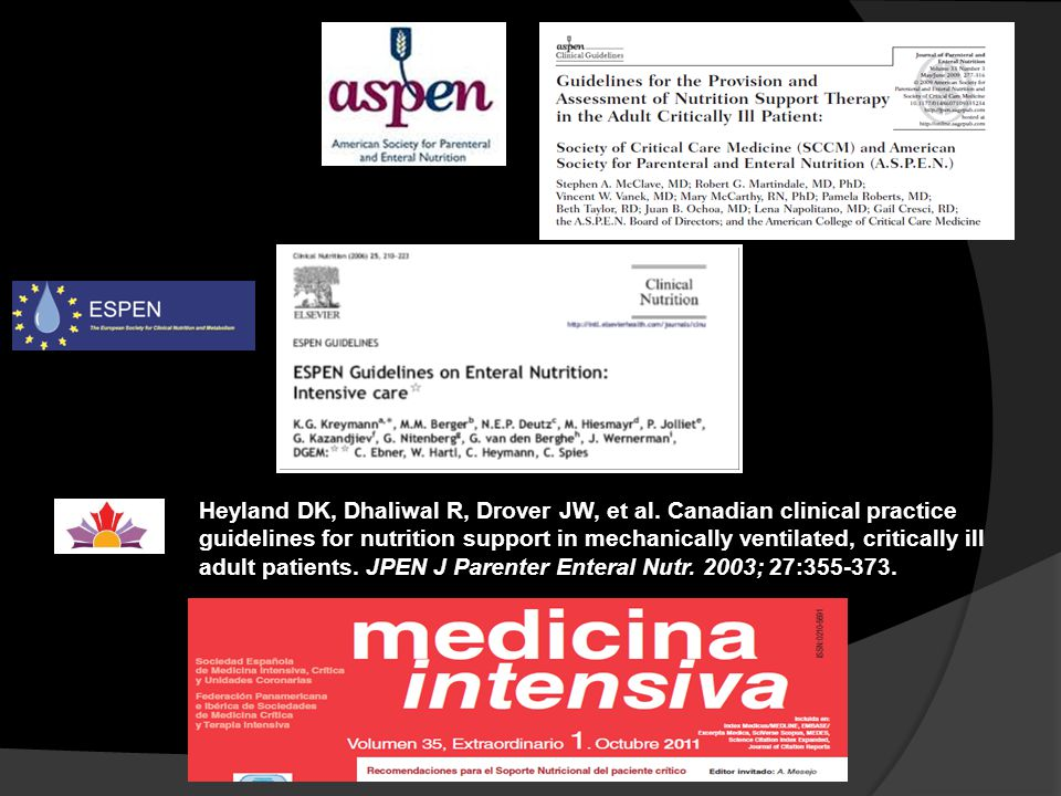 Heyland DK, Dhaliwal R, Drover JW, et al. Canadian clinical practice guidelines for nutrition support in mechanically ventilated, critically ill adult