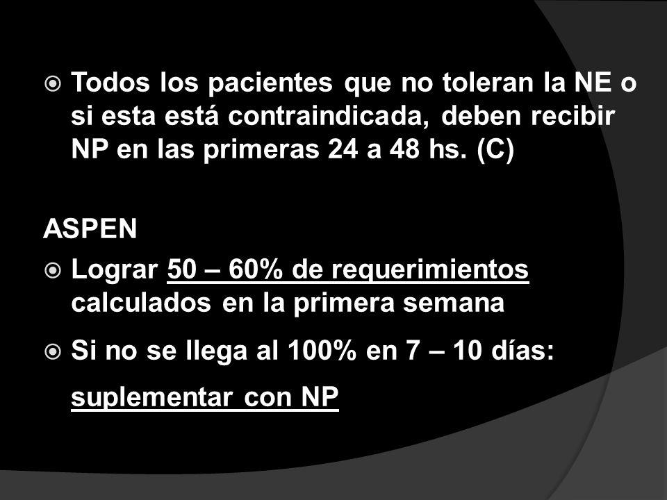 Todos los pacientes que no toleran la NE o si esta está contraindicada, deben recibir NP en las primeras 24 a 48 hs. (C) ASPEN Lograr 50 – 60% de requ