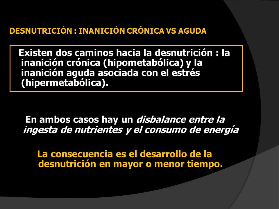 DESNUTRICIÓN : INANICIÓN CRÓNICA VS AGUDA Existen dos caminos hacia la desnutrición : la inanición crónica (hipometabólica) y la inanición aguda asoci