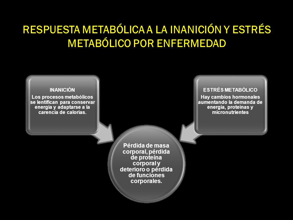 RESPUESTA METABÓLICA AL ESTRÉS Fase Ebb Hipometabolismo Hipovolemia Hipotermia Resistencia a la insulina Disminución en el consumo de O 2 12-24 hs hasta 2 d Fase Flow Hipermetabolismo Hiperdinamia Fiebre Aumento en el consumo de O 2 Hiperlactatemia Hiperglucemia Hipercatabolismo severo 10-15 d hasta 1 mes