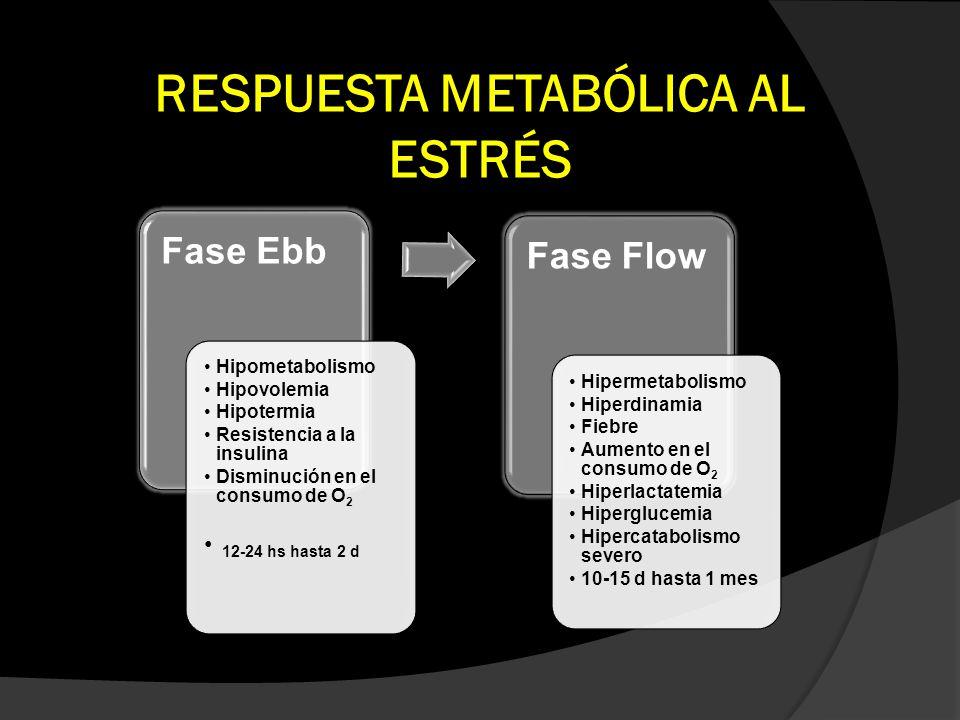 RESPUESTA METABÓLICA AL ESTRÉS Fase Ebb Hipometabolismo Hipovolemia Hipotermia Resistencia a la insulina Disminución en el consumo de O 2 12-24 hs has