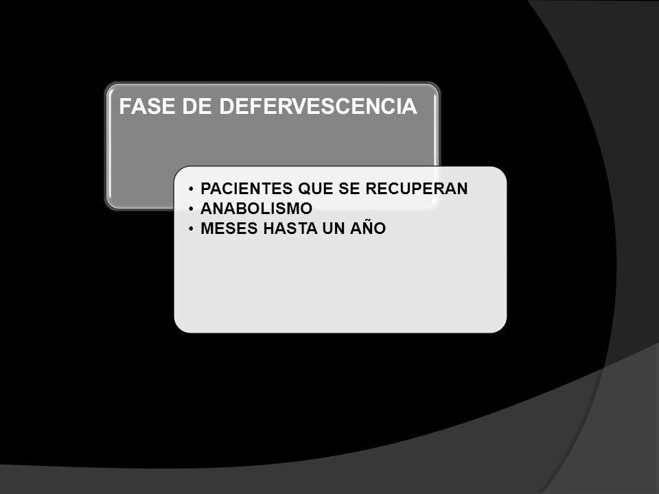 FASE DE DEFERVESCENCIA PACIENTES QUE SE RECUPERAN ANABOLISMO MESES HASTA UN AÑO