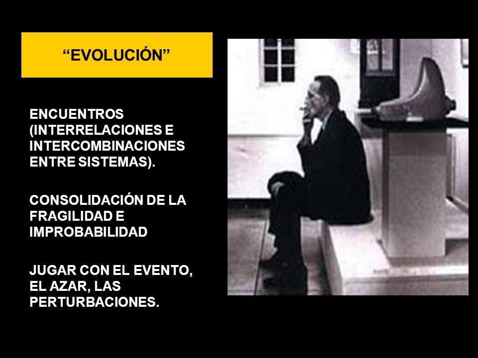 EVOLUCIÓN ENCUENTROS (INTERRELACIONES E INTERCOMBINACIONES ENTRE SISTEMAS). CONSOLIDACIÓN DE LA FRAGILIDAD E IMPROBABILIDAD JUGAR CON EL EVENTO, EL AZ