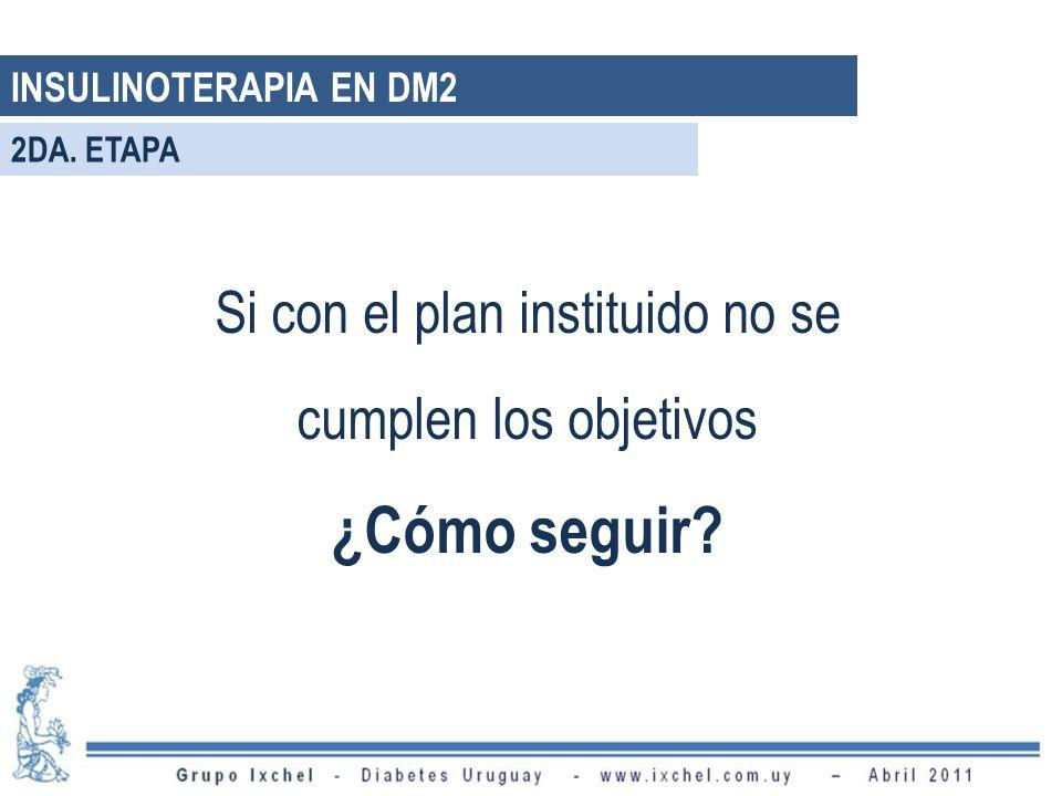 Si con el plan instituido no se cumplen los objetivos ¿Cómo seguir? INSULINOTERAPIA EN DM2 2DA. ETAPA