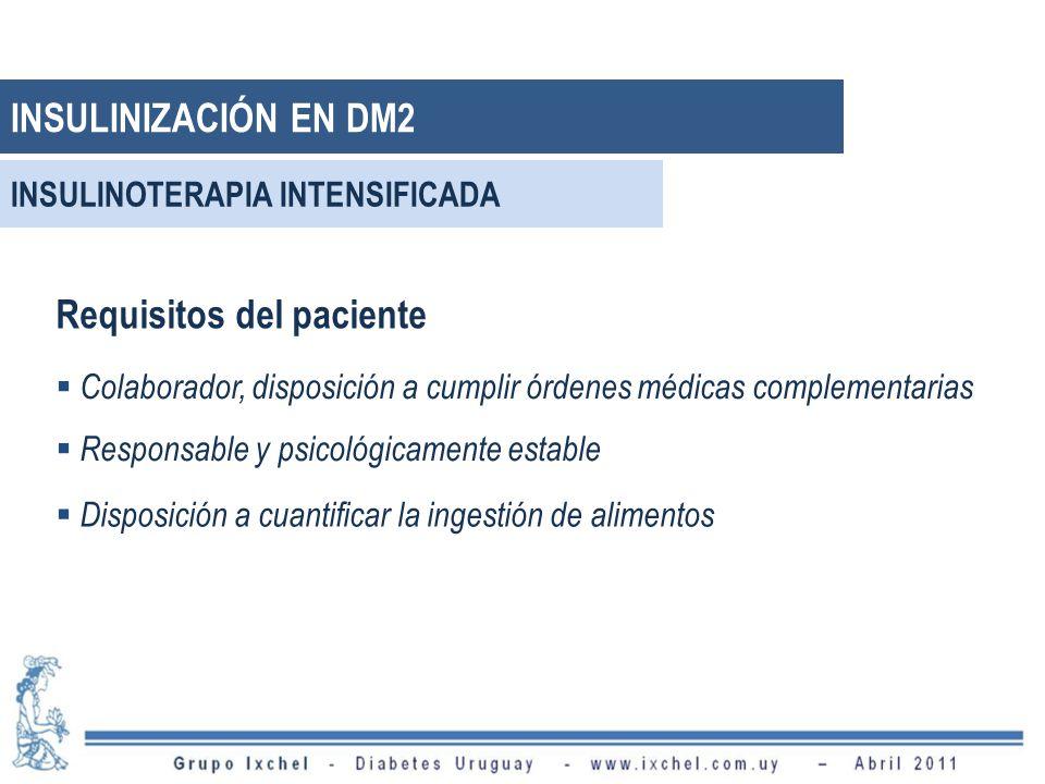 Requisitos del paciente Colaborador, disposición a cumplir órdenes médicas complementarias Responsable y psicológicamente estable Disposición a cuantificar la ingestión de alimentos INSULINIZACIÓN EN DM2 INSULINOTERAPIA INTENSIFICADA