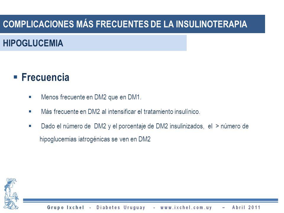 Frecuencia Menos frecuente en DM2 que en DM1. Más frecuente en DM2 al intensificar el tratamiento insulínico. Dado el número de DM2 y el porcentaje de