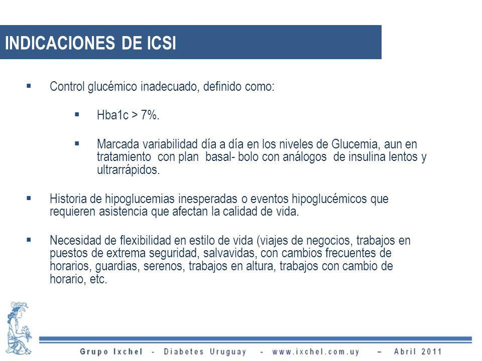Control glucémico inadecuado, definido como: Hba1c > 7%. Marcada variabilidad día a día en los niveles de Glucemia, aun en tratamiento con plan basal-