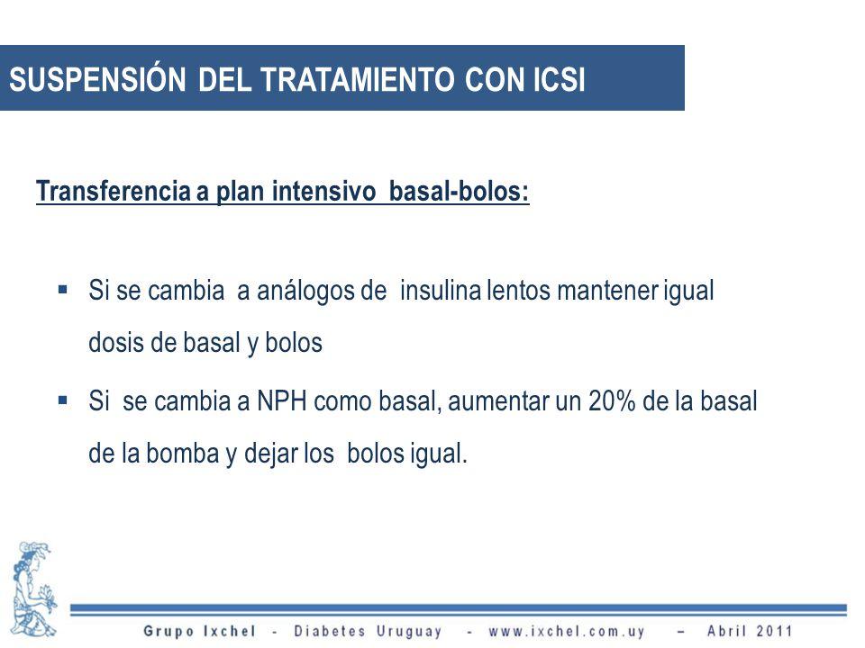 SUSPENSIÓN DEL TRATAMIENTO CON ICSI Si se cambia a análogos de insulina lentos mantener igual dosis de basal y bolos Si se cambia a NPH como basal, aumentar un 20% de la basal de la bomba y dejar los bolos igual.